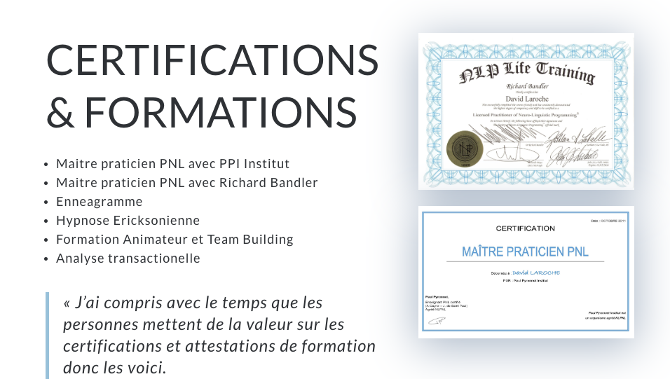 certifications david laroche