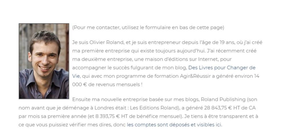 Olivier Roland Page d'À propos