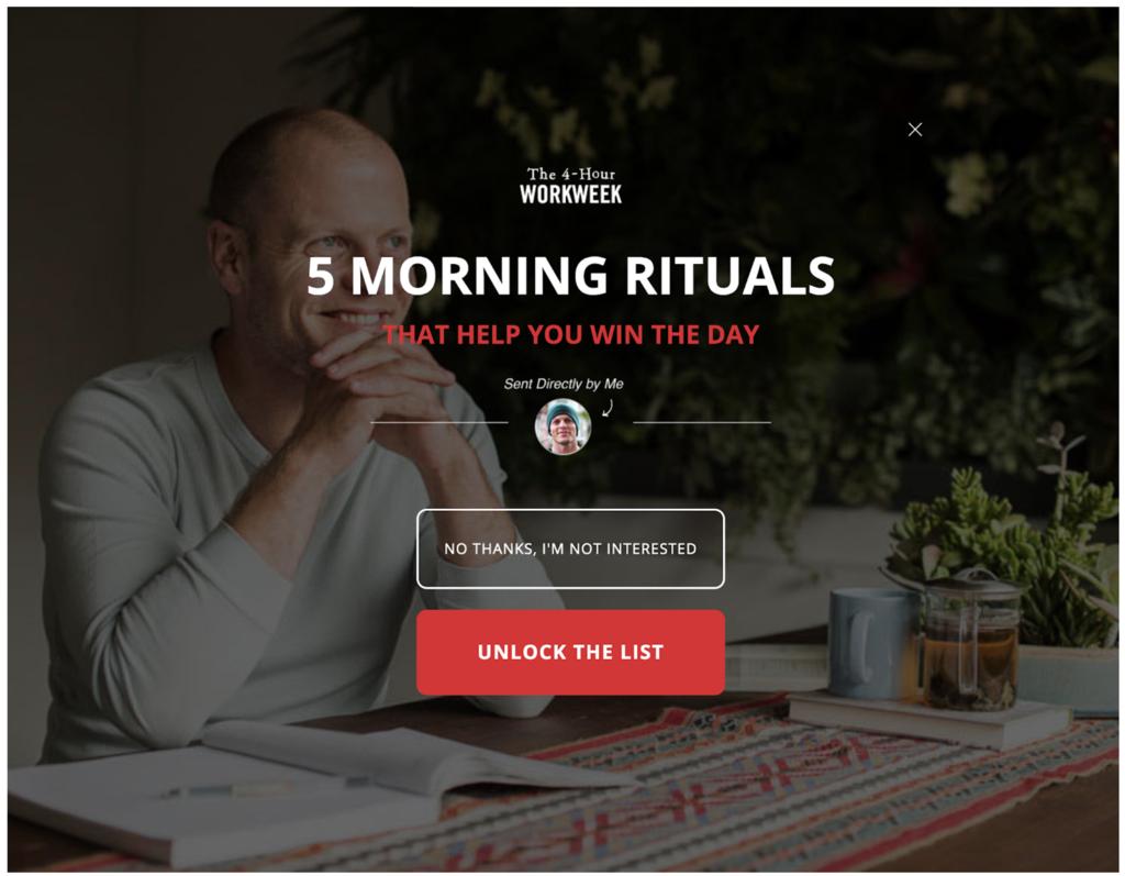 Vendre infoproduits : 5 rituels du matin : bonus de Tim Ferris - Milieu de Tunnel de vente