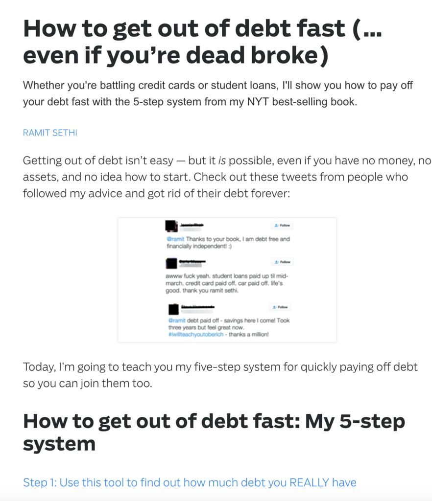 Article Ramit Sethi : Comment se débarasser de ses dettes ? - Début de Tunnel de vente